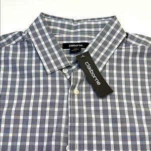 CLAIBORNE Mens XLT Black White Short Sleeve Shirt